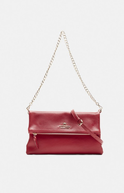Clutch / Shoulder Bag Velvet | cherry - CUOIERIA FIORENTINA